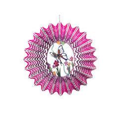 Spirale éolienne Mandala 'Papillon 3D rose', acier inoxydable Ø 30,5cm