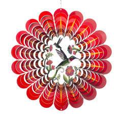 Spirale éolienne Mandala 'Colibri 3D', en acier inoxydable Ø 30,5 cm