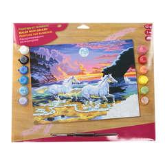 Peinture par numéros, 30x40cm - Chevaux au crépuscule