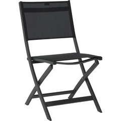 Chaise pliante JOE, Piètement Alu Anthracite Textilène Noir