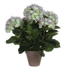 Hortensia artificiel violet clair Ø 45 x H. 45 cm, en pot Ø 13,5 cm