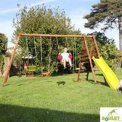 Aire de jeux en bois NOPAL 2S-2B1V1CL - L 362.5 l 397.5 H 235.0 cm