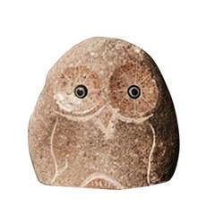 Happy Chouette décorative, en pierre H. 10 cm
