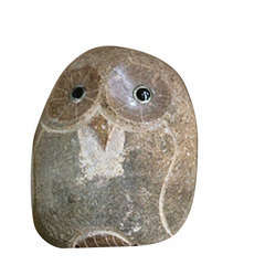 Happy Chouette décorative, en pierre H. 17 cm