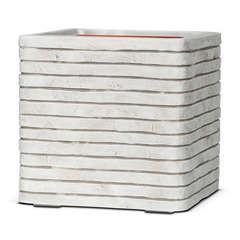 Pot carré bandes, ivoire L. 30 x 30 x H. 30 cm