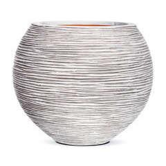 Vase boule strié, ivoire Ø 40 x H. 32 cm