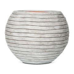 Vase boule bandes, ivoire Ø 40 x H. 32 cm