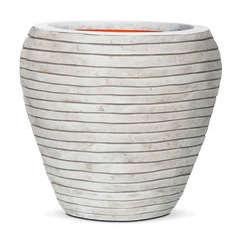 Vase évasé rond bandes, ivoire Ø 42 x H. 38 cm