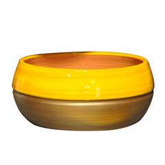 Coupe Melilo en terre cuite émaillée, coloris Ibiza sunshine Ø 24 cm