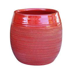 Pot Inca, coloris coquelicot Ø 16 x H. 22 cm