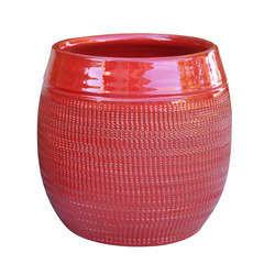 Pot Inca, coloris coquelicot Ø 21 x H. 28 cm