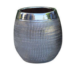 Pot Inca, coloris métal Ø 16 x H. 22 cm