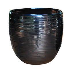Pot Volupté, coloris métal Ø 15 x H. 15 cm