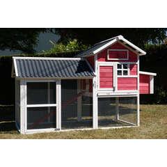 Poulailler House 2 toit pvc : L248xl120xh155 cm