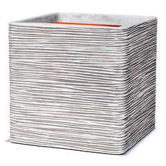 Pot carré strié, ivoire L. 40 x 40 x H. 40 cm
