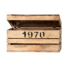 Caisse en bois, avec couvercle à charnières L. 40 x 20 x H. 21 cm