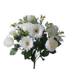 Bouquet de 24 pivoines/lys/gerbera, crème H47cm (0,2kg)