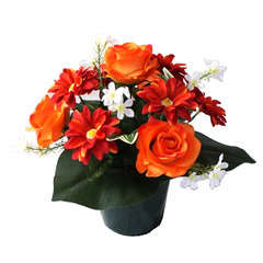 Pot de 13 roses et gerberas, H27cm - L20cm (1,5kg)