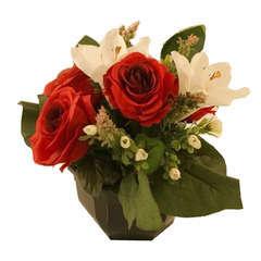 Coupe de 13 roses et lys, H27cm - L20cm (1,5kg)