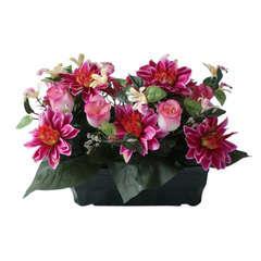 Jardinière de 26 rose/dahlia/orchidee, H27cm - L30cm (2,5kg)