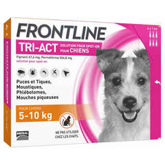 Pipettes antiparasitaires chien 5-10kg Frontline© tri-act, 6x1ml
