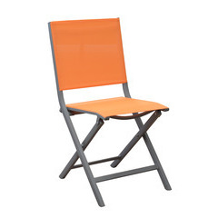 Chaises pliantes Thema (x2) : Taupe/orange