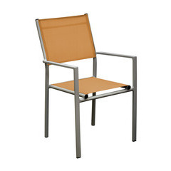 Fauteuils empilables Thema (x2) : Orange/taupe