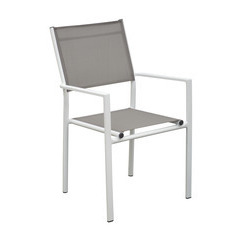Fauteuils empilables Thema (x2) : Blanc/taupe