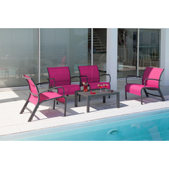 Ensemble Set Lounge LINEA 4 fauteuils + Table basse