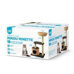 Arbre à chat Minou Minette L avec panier et grotte noir/beige H.95cm