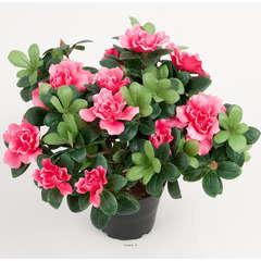 Azalee artificielle en pot H 25 cm D 30 cm qualite top Rose fushia