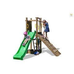 Air de jeux bois, plastique FUNNT3 rampe toboggan et bac à sable 2,50m