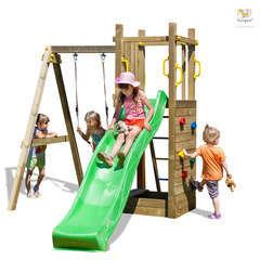 Air de jeux bois plastique FUNNY3 bac sable toboggan balançoire 2,10m