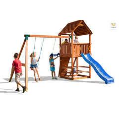 Air de jeux en bois JOY MOVE balançoires, toboggan, escalade - 3,05m
