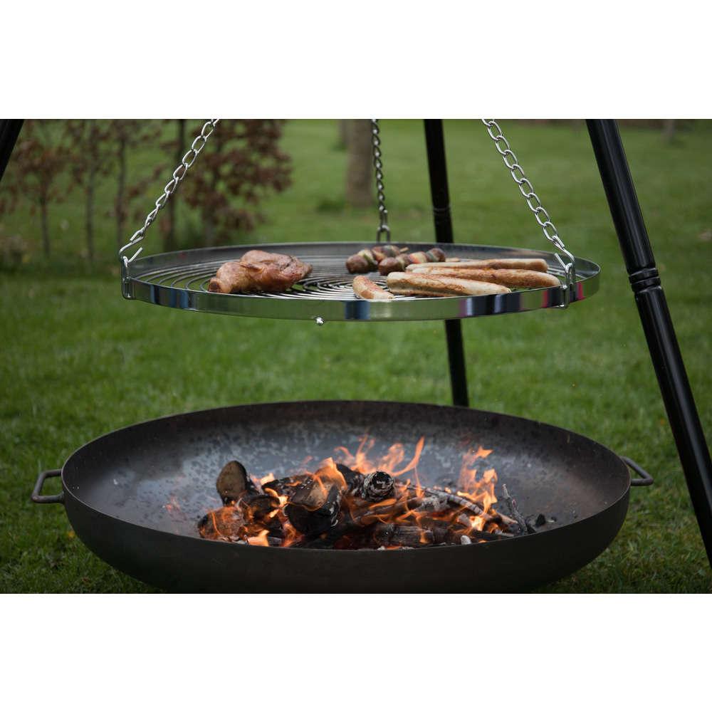 Duo barbecue grill tripode a suspendre et brasero industrial
