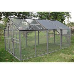 Enclos Mansion run, bois/toit PVC: L396 x l233,5 x H200 cm (9m²)
