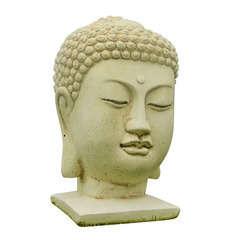 Tete de bouddha, ton vieille pierre l. 15 x H. 30 cm