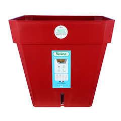 Pot carré Loft à réserve d'eau en polypropylène, rouge L.49 x H.45 cm