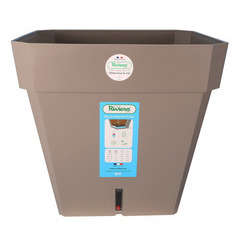 Pot carré Loft à réserve d'eau en polypropylène, taupe L.49 x H.45 cm