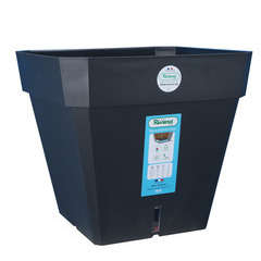 Pot carré Loft à réserve d'eau en polypropylène, noir L.39 x H.36 cm