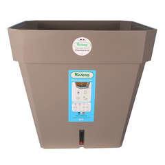 Pot carré Loft à réserve d'eau en polypropylène, taupe L.39 x H.36 cm