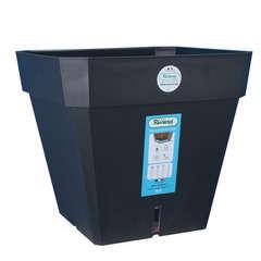 Pot carré Loft à réserve d'eau en polypropylène, noir L.29,5xH.26,5cm
