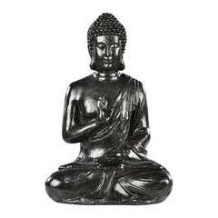 Bouddha Hindou en pierre reconstituée, ton ciré ardoise H40cm