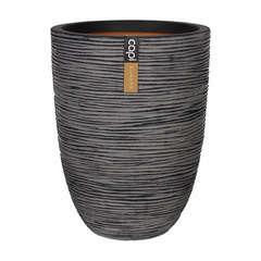Vase Elégance bas strié, anthracite D36 x H. 47 cm