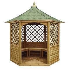 Pavillon hexagonal élégant bois massif 4.74 m2