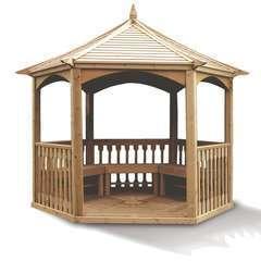 Pavillon hexagonal élégant bois massif à toiture bois 4.74 m2