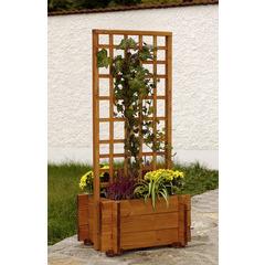 Jardinière avec treillis 'Hofgarten', en bois L.55 x l.46 x H.120 cm