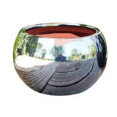 Pot Lisere en terre cuite émaillée, coloris métal D20 cm