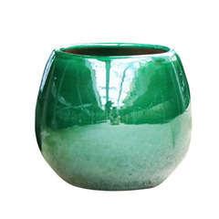 Pot Cancale en terre cuite émaillée, coloris jade D17 cm