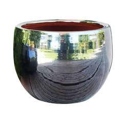 Pot Lisere en terre cuite émaillée, coloris métal D25 cm